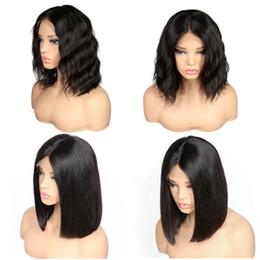 2019 echte indische haarperücken frauen Spitzefront-Menschenhaar-Perücken für schwarze Frauen vor gerupftes brasilianisches Remy-Haar gerade / Körper-Wellen-kurze Bob-Perücken mit dem Baby-Haar