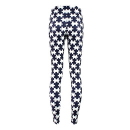 Wholesale Cross Leggings Xl - Wholesale- 6 Patterns 2016 Fitness Women White-Cross Black Leggins Geometric Pattern Printed Cross Leggings For Girls S M L XL XXL XXXL 4XL