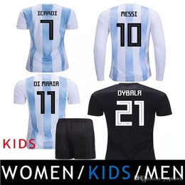 Wholesale messi jersey kids - 2018 Argentina Camiseta Soccer Jerseys Kids Women MESSI AGUERO DYBALA HIGUAIN ICARDI DI MARIA Maradona Football Shirts Thailand Uniforms Kit