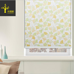 Wholesale Modern Window Blinds - Half Light Shade ginkgo leaves Printed Roller Blinds Modern Design Ice Ballet Pattern Roller Curtains Made to Measure Size