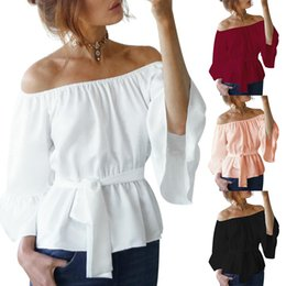 Wholesale Red Off Shoulder Blouses - Sexy Women Off Shoulder Blouse Shirt Summer Casual Stretch Slash Neck 3 4 Flare Sleeve Tops RF0830