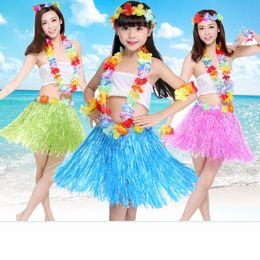 traje hawaiano de hula Rebajas 30/40/60 cm Hawaiian Grass Dance Skirt Game Performance Disfraces Fans Accesorios de la alegría Party Decoration Hula Grass Falda 5 UNIDS SET