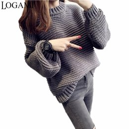 Wholesale Puff Sleeve Sweater White - Wholesale- Sweater Women New Autumn 2016 Female Sweaters and Pullovers Pull Femme White Khaki Grey Rose