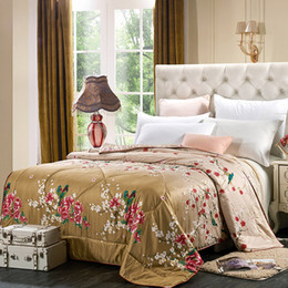 Wholesale Queen Floral Quilt - Silk Comforter 100% Pure Mulberry Silk Natural Quilt Duvet Queen All Season Jacquard Floral