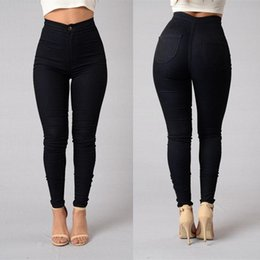 Wholesale white trousers women - 2017 Hot Cotton High Elasticity Skinny Jeans Women Fashion Sexy Europe Push Up Pencil Pants Mujer Vintage Washed Trousers Femme