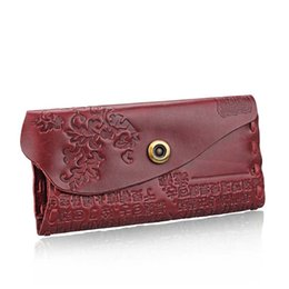 Wholesale Multi Function Women Fashion Wallet - Women Antique Genuine Leather Hasp Casual Multi-Function Card Holder Changes Purse Wallet with Coin Bag Cowhide Long Wallets W074