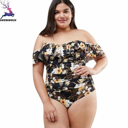 Wholesale plus size ruffles underwear - DOUDOULU XL-5XL Ruffle Off Shoulder Women Bikini Set floral Plus Size biquini Laundry set Underwear female bikini summer 2018#WS