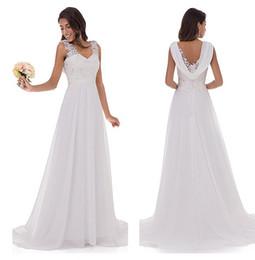 chiffon- spitzekurzschlußansatz-hochzeitskleid Rabatt Brautkleid Frauen Doppel V-Ausschnitt ärmellose Spitze Brautkleid Teil Kleid