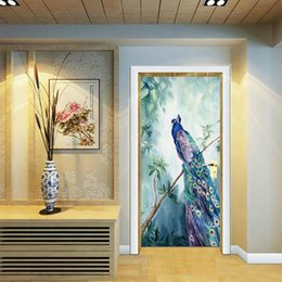 Wholesale peacock wall paper - 2Pcs set Newest Animal Colorful Peacock Door Stickers Wallpaper Poster Wall Sticker Office Bedroom Living Room Home Decoration