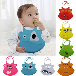 silicone pocket bibs Promo Codes - Cartoon Waterproof Silicone Bib Feeding Stereo Pick Rice Pocket Baby Saliva Towel Newborn Aprons