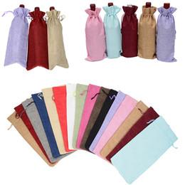 sacs pour bouteilles de vin Promotion Sacs à cordon en lin sacs à bouteilles de vin multi couleurs poche cadeau avec des sacs de stockage de corde à tirer T2I295