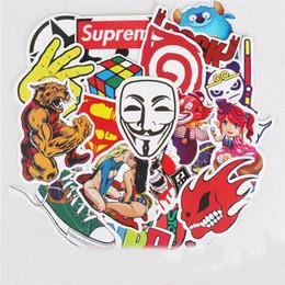 tuiles de son Promotion 150pcs 1set Pas De Répétition De Mode Autocollant Conception De Bande Dessinée Mignon Moto Paster Graffiti Style Multi Couleur Stickers Muraux 12 9xq Z