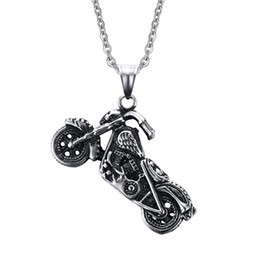 Wholesale Motorcycle Christmas Gifts - 316L stainless steel Biker Necklaces Mens Harley motorcycles Charms pendants Necklace For men Fashion Chains Jewelry Hot sale