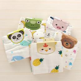 broches de penas laranja Desconto Pano de gaze de algodão pano de rosto impresso toalha de saliva gaze dupla fina pequeno lenço lenço de toalha das crianças SW002