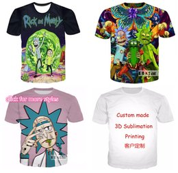 Wholesale funny anime t shirts - New Fashion Couples Men Women Unisex Anime Rick And Morty Funny 3D Print No Cap Casual tshirt T-Shirts Tee Top T9