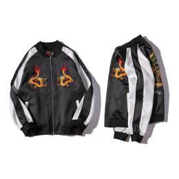 Wholesale Varsity Letter Jackets - New Arrival Dragon Embroidery Lovers Black Baseball Jacket Men's Slim Fit Hip Hop Varsity Baseball Jacket