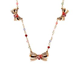 Wholesale chains neckless - Bowknots Uinque Small Flower Inifinity Crystal Inlay Necklace & Pendant For Women Enamel Choker Fashion Charm jewelry Neckless