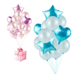 Bebés de látex online-Azul Rosa Corazón Estrella Juego de Globos de Látex Globos de Látex Aniversario Fiesta de bienvenida al bebé Decoraciones para Niños Boda Bachelorette Party Supplies