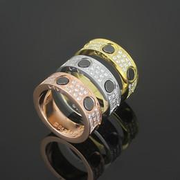 Wholesale Titanium Couple Ring Black - Fashion jewerly 316L Titanium Steel 18K gold plated black ceramics screw love Ring For Women wedding Rings Rose Gold Fine jewelry