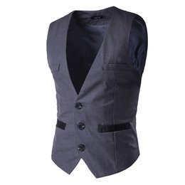 Wholesale Korean Clothes For Winter - Autumn and winter brand clothing Korean version of men's fashion suit vest for men2017 new leisure suit vest pocket solid color