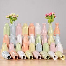 Petites bouteilles de fleurs en Ligne-Céramique Petit Vase Frais Hydroponique Verre Transparent Vases Salon Chambre Fleurs Sèches Bouteille Ameublement 2 5hy ff