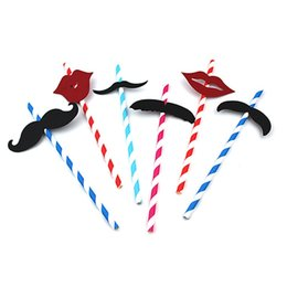 Wholesale wholesale decorating supplies - Paper Quality Straw Beard Modeling Cartoon Disposable Color Stripes Decorate Straws For Birthday Party Ktv Kids Supply Gift 0 3rs UU
