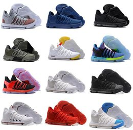 Wholesale Kd Low Tops - .2018 Correct Version KD 10 EP Basketball Shoes for Top quality Kevin Durant X kds 10s Rainbow Wolf Grey KD10 FMVP Sports Sneakers