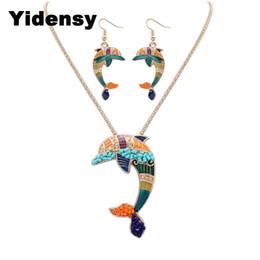2019 collares de libélula para mujer Yidensy Moda Esmalte Delfín Collar Pendientes Libélula Cangrejo Tortuga Caballito de Mar Juegos de Joyas para Mujeres Regalo rebajas collares de libélula para mujer