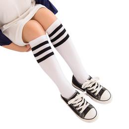 Wholesale Leg Warmer For Girls - New Kids Knee High Socks For Girls Boys Football Stripes Cotton Sports School White Socks Skate Children Baby Long Tube Leg Warm