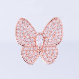 Wholesale Wholesale Jewelry Embellishments - Wholesale Handmade DIY Jewelry Accessories Embellishments Findings Copper Zircon Crystal Butterfly Spacer Chain Decoration Connectors Charms