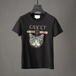 Wholesale European Products - Spring and summer 2018 new products of European and American fashion large size embroidered cat head cotton T-shirt.