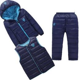 Wholesale boys corduroy coats - Autumn Winter Boy Girl Solid Clothes Kids Cartoon Print Warm Sets Children Jackets Coats Vest Pants 3Pcs suits toddler Tracksuit