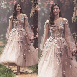 01ce021a025 2018 nova sexy paolo sebastian vestidos de baile blush rosa manga comprida  flor bordados festa vestidos de noite tornozelo comprimento tulle desgaste  formal ...