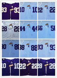 Wholesale Purple Football Jersey 28 - Best Quality Men Throwback Jersey 10 Tarkenton 22 Paul Krause 28 Peterson 44 Foreman 56 Doleman 80 Carter 88 Page 93 Randle
