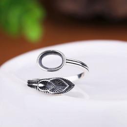 sterling silber ring einstellung oval Rabatt Großhandel 925 Sterling Silber Semi Mount Ring für Frauen Engagement Hochzeit 6x8mm Oval Cabochon Bernstein Achat Granat Einstellung