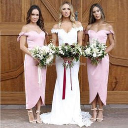 7c18f857cb7 Discount cute coral bridesmaid dresses - Cute Off The Shoulder Pink  Bridesmaid Dresses Satin Ankle Length