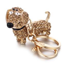 Colgante de perro salchicha online-Rhinestone Crystal Dog Dachshund Llavero Bolsa Charm Colgante Llaves Titular de la Cadena Llavero de La Joyería Para Las Mujeres Chica Regalo 6C0804