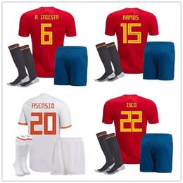 Wholesale Youth Soccer Uniform Jerseys - kids Spain Jersey PIQUE A.INIESTA MORATA THIAGO RAMOS ASENSIO SILVA ISCO Home Red Away Gray Shirt Soccer Football Youth Uniforms 2018 World