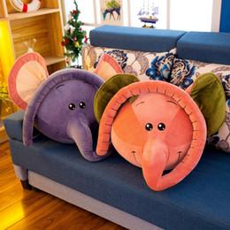 Almohadas grandes y largas online-Nueva linda cabeza de elefante con nariz larga de peluche de juguete grandes animales elefante relleno almohada muñeca para el regalo del bebé 45x45 cm