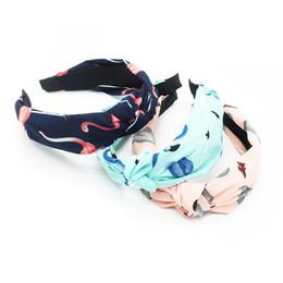 Grande tessuto di stampa floreale online-Accessori per cinturini Fasce per capelli in plastica con nodo carino Fasce per donna Tessuto per capelli con stampa floreale Fascia larga