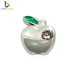 """Wholesale Apple Locket - 20pcs lot """"Apple"""" floating charms DIY charms for necklace & bracelets fashion charms accessories glass Locket LSFC099*20"""