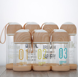 Wholesale used glass bottles - Wood Lid Glass Water Bottle Outdoors Portable Beverage Juicer Use 200ML 300ML Carrying Loop Sports Outdoor Tea Cups GGA152 30pcs