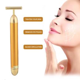 Wholesale face lift gold - Beauty Face Skin Care Tool Pro Slimming Face 24k Gold Lift Bar Vibration Facial Beauty Care Massager Energy Vibrating Bar