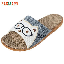 Pantofole in lino online-2018 Fashion Summer Home Slippers Lino antiscivolo Lino Indoor Floor Shoes Uomo Donna Amanti traspirante Pantofole da pavimento casual