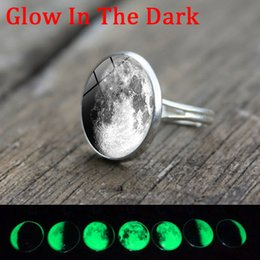 Wholesale Full Moon Party - whole saleGlow In The Dark Ring Gray Full Moon Glass Cabochon Luminous Silver Ring Adjustable Jewelry Accessories Women New Year Gift