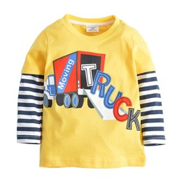 new helicopter Australia - Cool Boys T shirt Long sleeve Boys clothing Striped Cartoon Helicopter European New style Autumn Spring Bottom Top 1-6T Wholesale B11