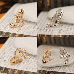 2019 anillos de oro de diseño mixto colores mezclados Cute Retro Queen Dragonfly Design Rhinestone Plum Snake Gold / Silver Ring Finger Nail Rings anillos de oro de diseño mixto baratos