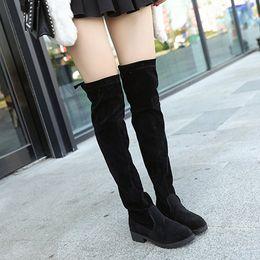 a3b297e4564777 sexy weibliche stiefel Rabatt Größe 34-43 2018 Neue Schuhe Frauen Stiefel  Schwarz Overknee Stiefel