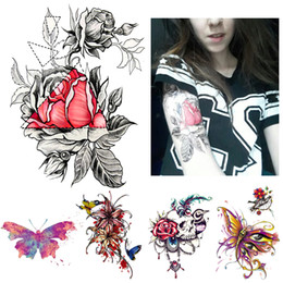 Wholesale Tattoos Designs Sketches - 1 Piece Sketch Decal Waterproof Tattoo Heart Rose Flower Pattern Sticker Design KM-055 Women Body Art Temporary Tattoo Taty 2018