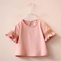 2019 camisetas de princesa para niños Nueva camiseta de algodón de moda para bebé niña camiseta de manga de encaje acampanado, 2-6 años de princesa Kids Blusa ropa camisetas de princesa para niños baratos
